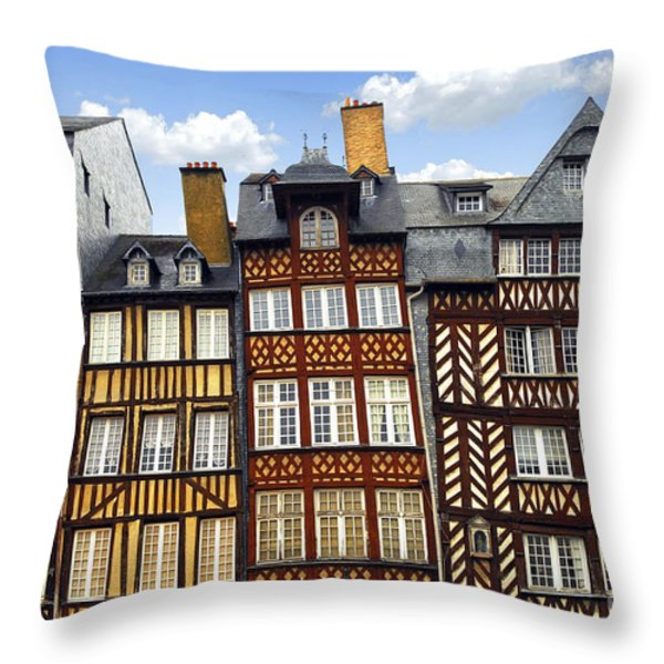 Medieval houses in Rennes Throw Pillow by Elena Elisseeva