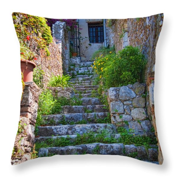 Medieval Saint Paul de Vence 1 Throw Pillow by David Smith
