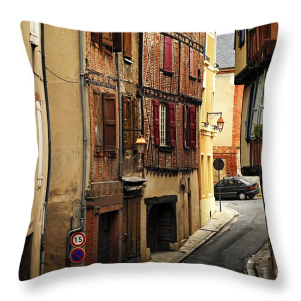 Medieval Street In Albi France Throw Pillow by Elena Elisseeva