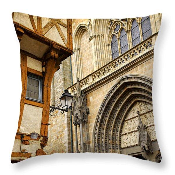 Medieval Vannes France Throw Pillow by Elena Elisseeva