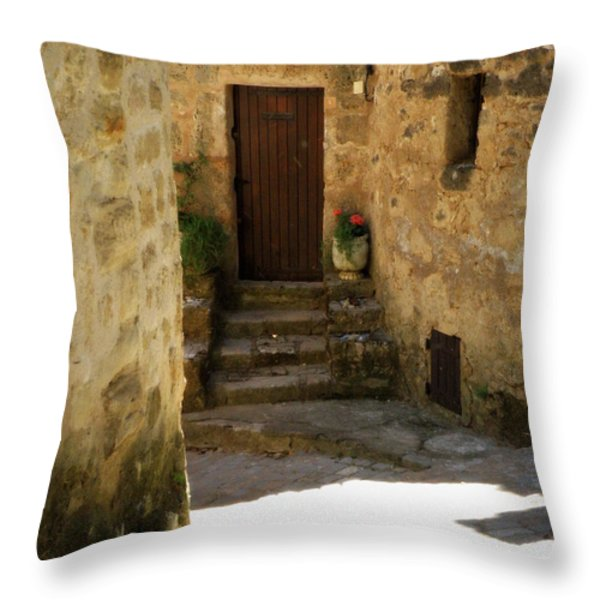 Medieval Village Street Throw Pillow by Lainie Wrightson