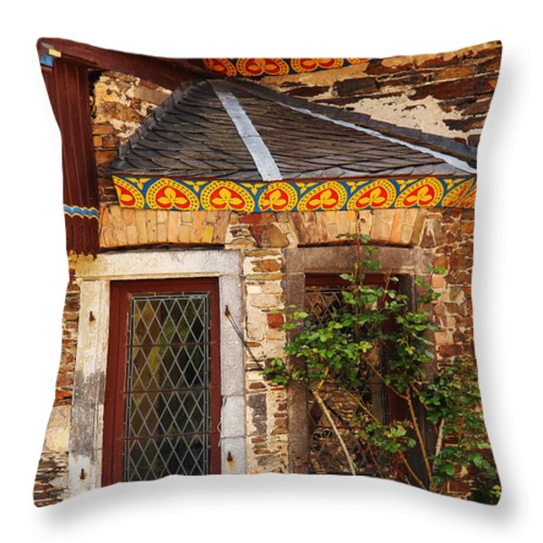 Medieval Window And Rose Bush In Germany Throw Pillow by Greg Matchick