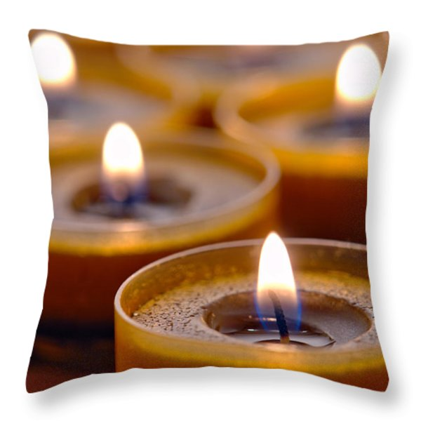 Meditation Candles Path Throw Pillow by Olivier Le Queinec
