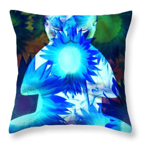 Meditation Kitty / Midnight Meditations On The Blue Sunflower Throw Pillow by Elizabeth McTaggart