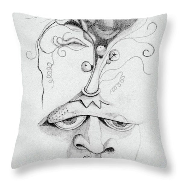 Meditation On The Crown Chakra Or Where Is Your Mind Going Surrealistic Fantasy Of Face With Energy Throw Pillow by Rachel Hershkovitz