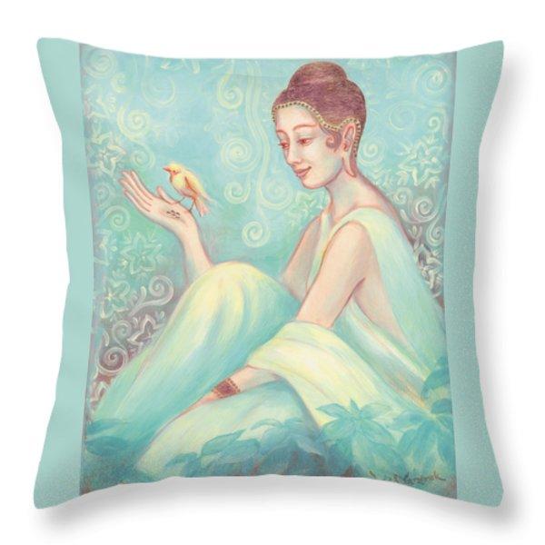 Meditation With Bird Throw Pillow by Judith Grzimek