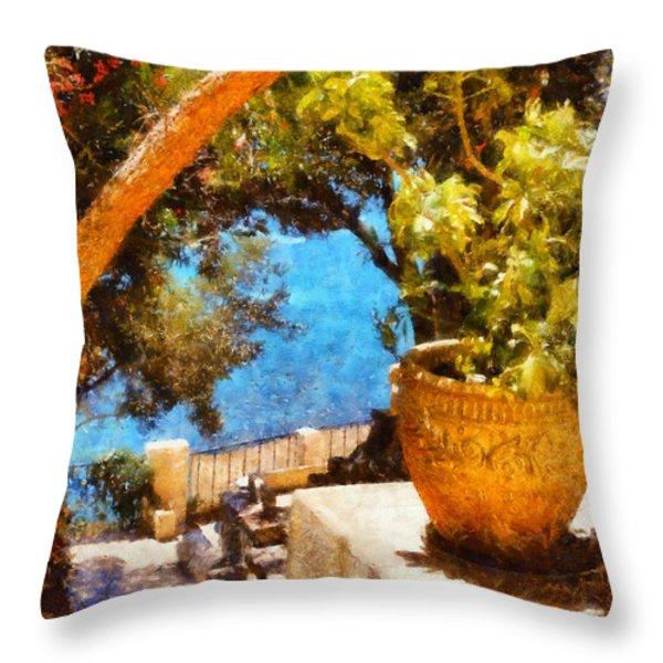 Mediterranean Steps Throw Pillow by Pixel Chimp
