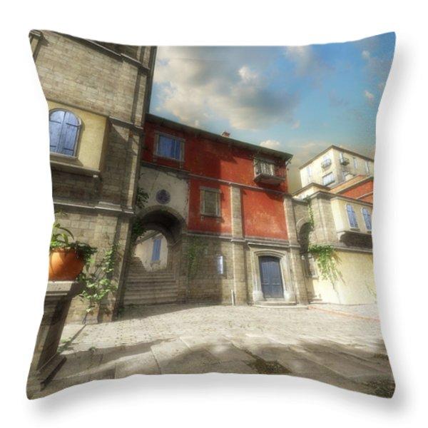Mediterranean Street Throw Pillow by Cynthia Decker