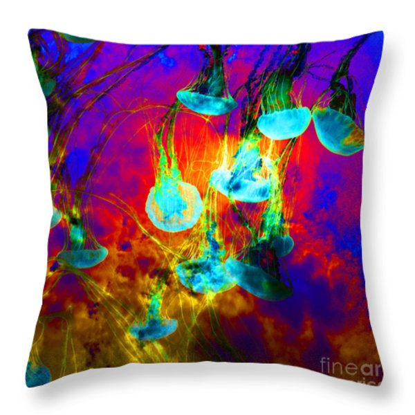 Medusas On Fire 5d24939 Square Throw Pillow by Wingsdomain Art and Photography