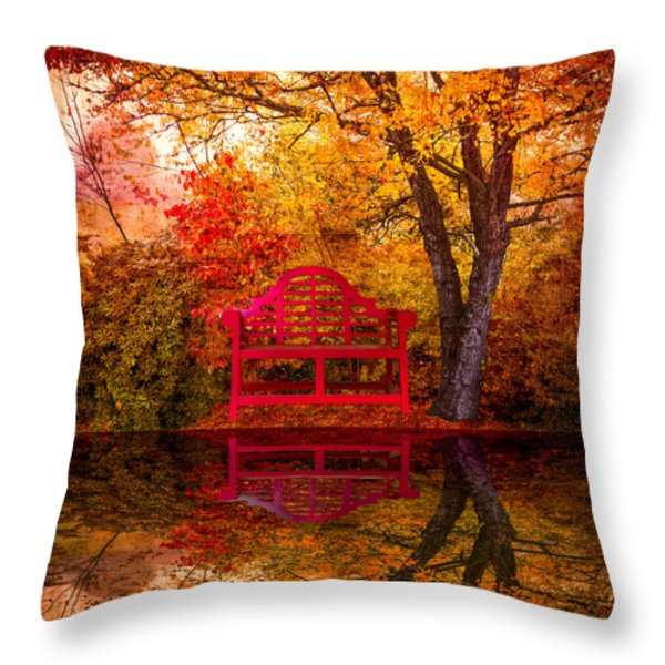 Meet Me at the Pond Throw Pillow by Debra and Dave Vanderlaan