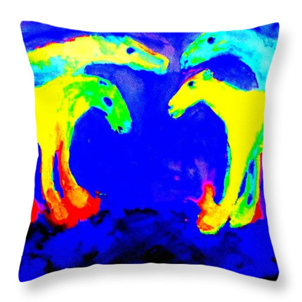 Meeting my friends Throw Pillow by Hilde Widerberg