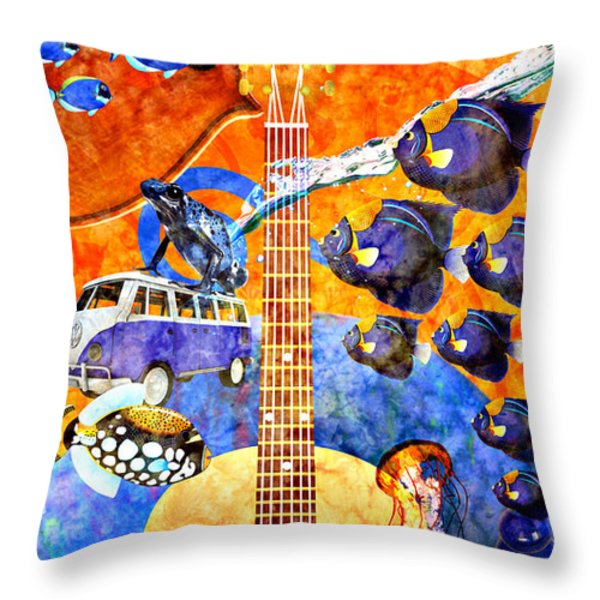 Melodies And Sunset Seas Throw Pillow by Ally  White