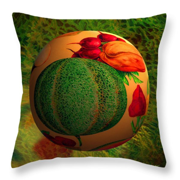 Melon Ball  Throw Pillow by Robin Moline