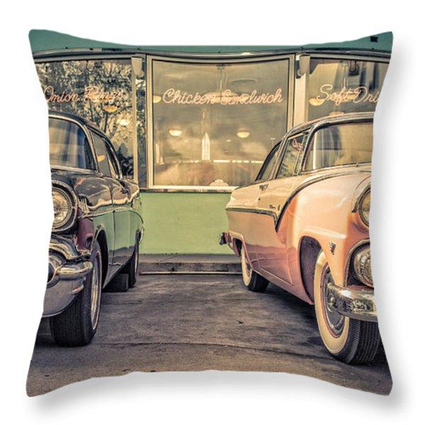 Mel's Drive-in Throw Pillow by Edward Fielding