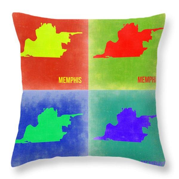 Memphis Pop Art Map 2 Throw Pillow by Naxart Studio