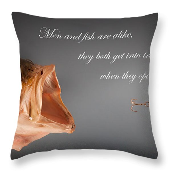 Men And Fish Throw Pillow by Bill Wakeley