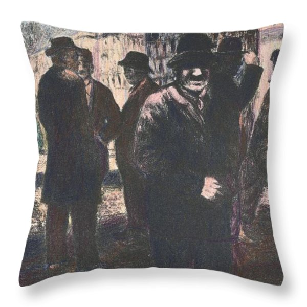 Men In Yellow Light Throw Pillow by Kendall Kessler
