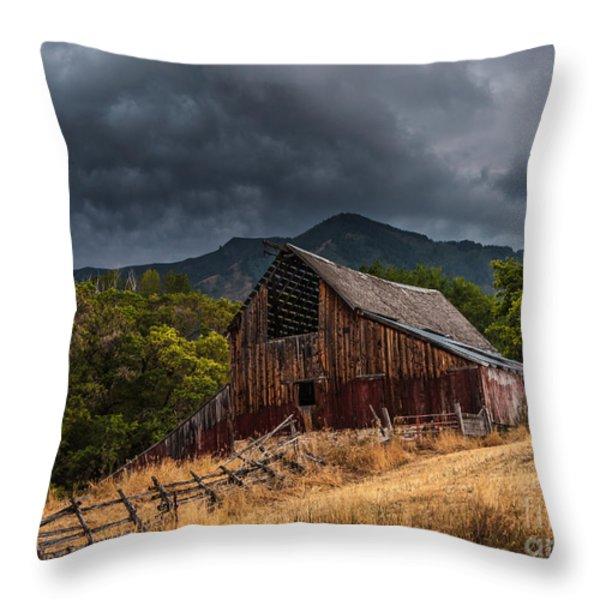 Mendon Utah Barn in Storm Throw Pillow by Gary Whitton