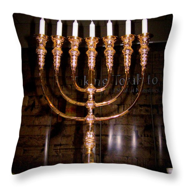 Menorah Throw Pillow by Roger Reeves  and Terrie Heslop
