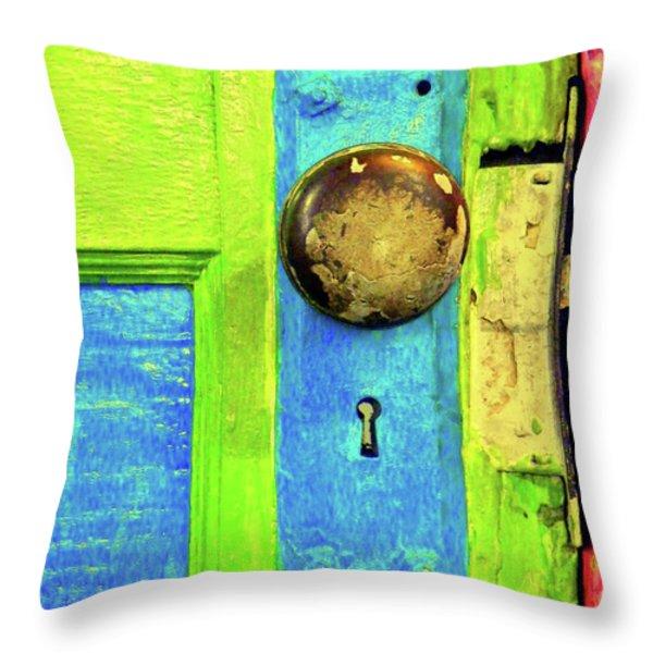 MERCADO DOOR Throw Pillow by Joe Jake Pratt