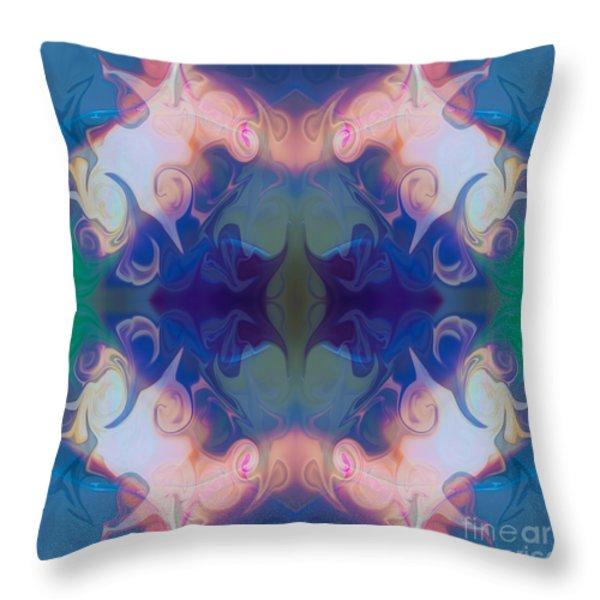 Merging Fantasies Abstract Pattern Artwork By Omaste Witkowski Throw Pillow by Omaste Witkowski