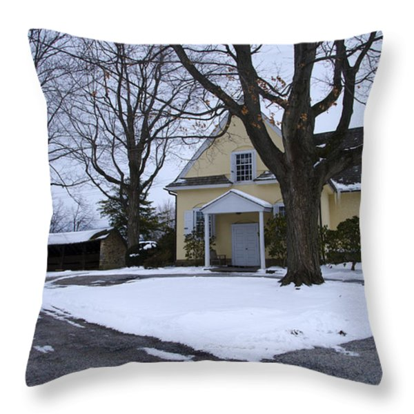 Merion Meeting House - Narberth Pa Throw Pillow by Bill Cannon