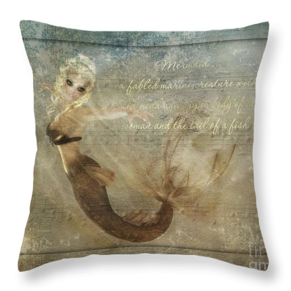 Mermaid-2 Photoart Throw Pillow by Becky Hayes