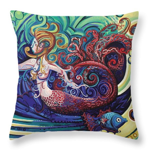 Mermaid Gargoyle Throw Pillow by Genevieve Esson