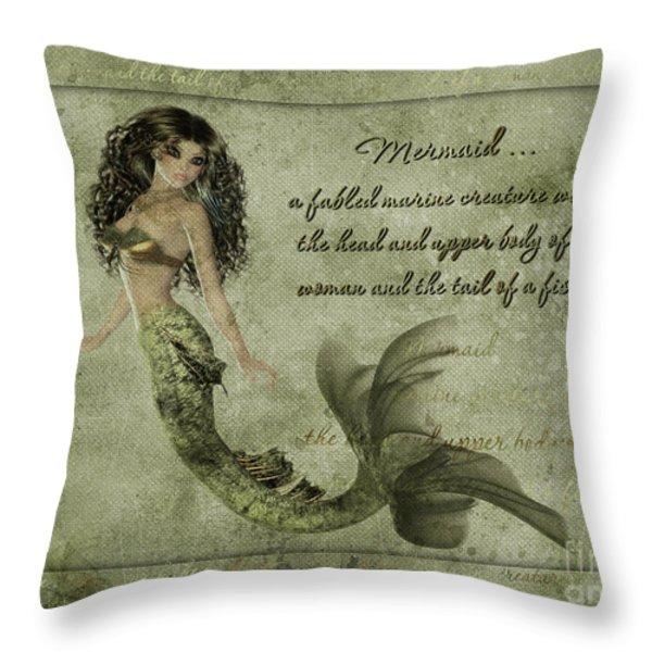 Mermaid Photoart Throw Pillow by Becky Hayes