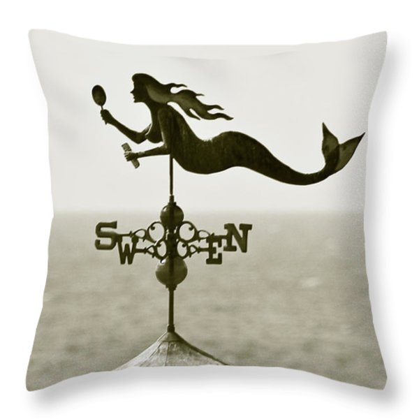 Mermaid Weathervane In Sepia Throw Pillow by Ben and Raisa Gertsberg