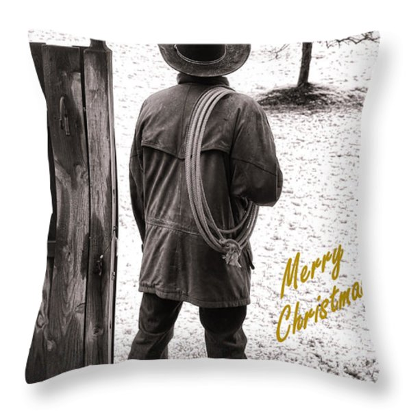 Merry Christmas from Cowboy Country Throw Pillow by Olivier Le Queinec
