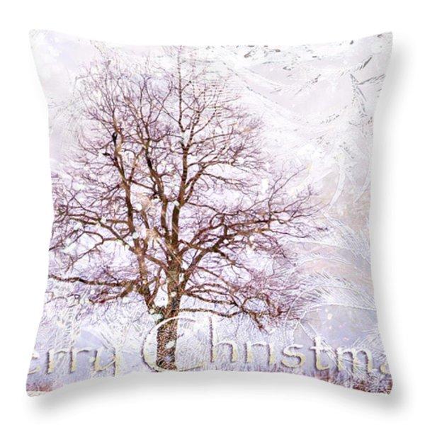 Merry Christmas Throw Pillow by Jenny Rainbow