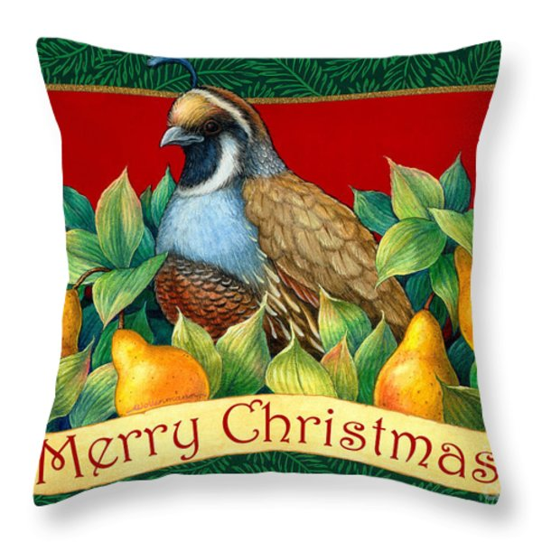 Merry Christmas Partridge Throw Pillow by Randy Wollenmann