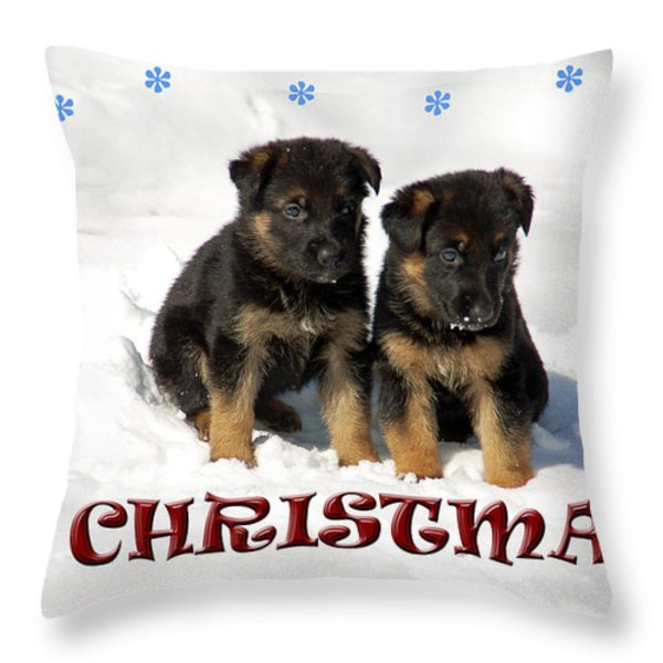 Merry Christmas Puppies Throw Pillow by Aimee L Maher Photography and Art