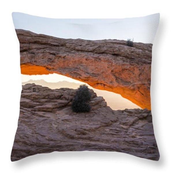 Mesa Arch Sunrise Panorama - Canyonlands National Park - Moab Utah Throw Pillow by Brian Harig