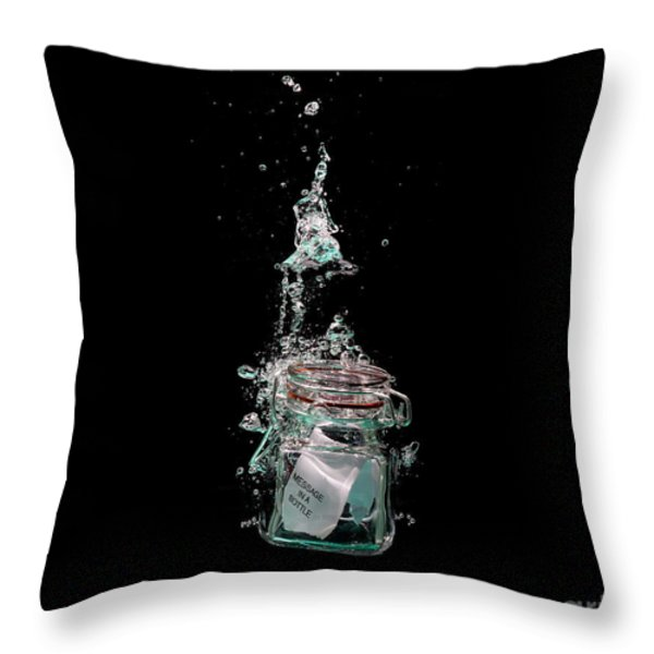 Message In Sinking Bottle Throw Pillow by Simon Bratt Photography LRPS