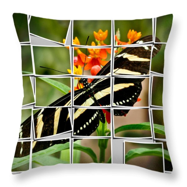 Messed up butterfly Throw Pillow by Jean Noren
