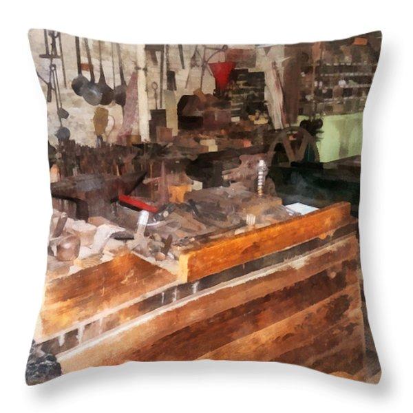 Metal Machine Shop Throw Pillow by Susan Savad