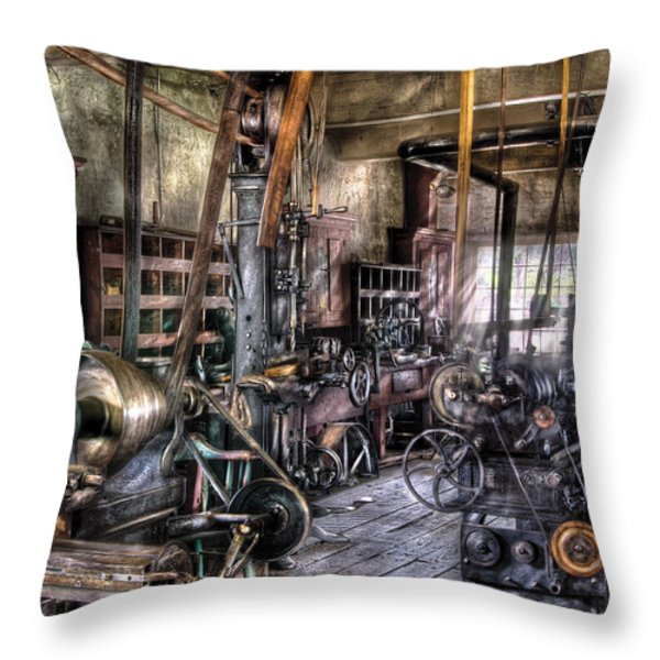 Metal Worker - Belts And Pullies Throw Pillow by Mike Savad