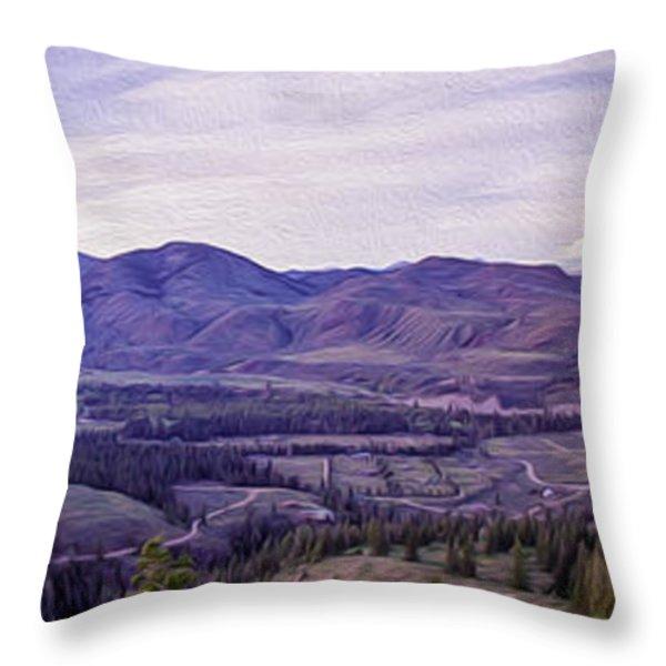 Methow River Valley via Sun Mtn Lodge Throw Pillow by Omaste Witkowski