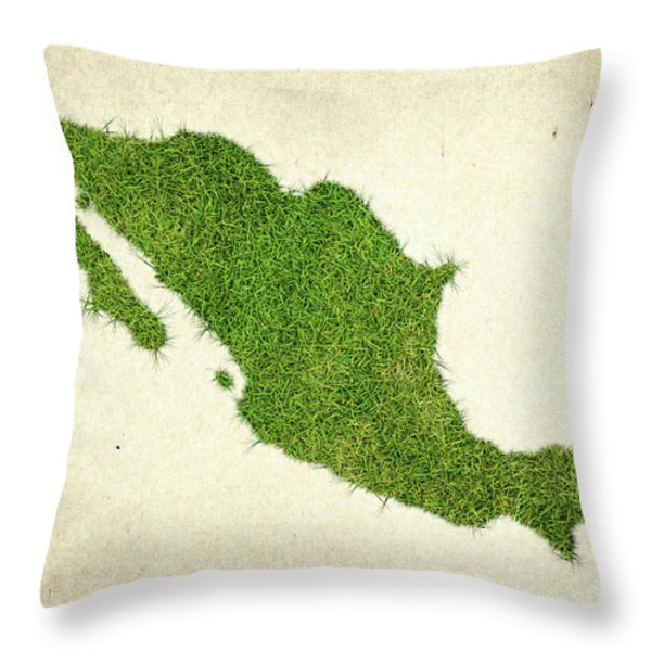 Mexico Grass Map Throw Pillow by Aged Pixel