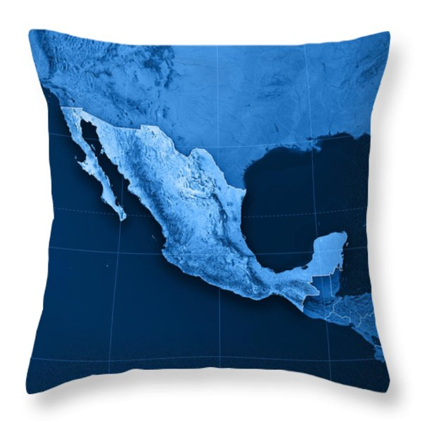 Mexico Topographic Map Throw Pillow by Frank Ramspott