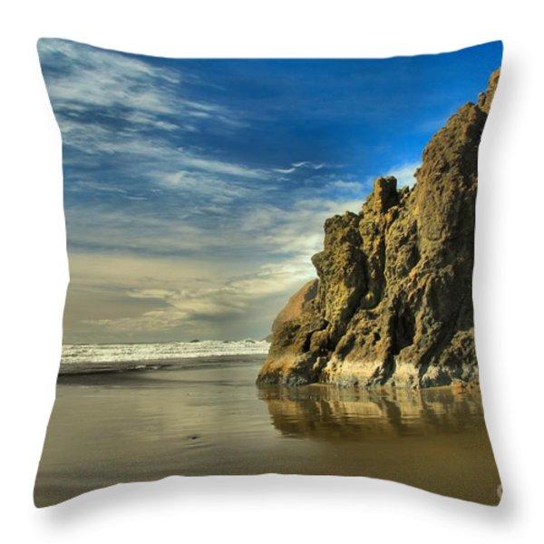 Meyers Beach Stacks Throw Pillow by Adam Jewell
