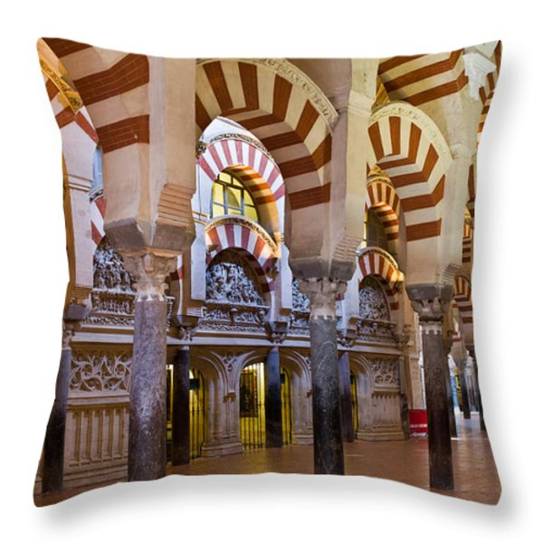 Mezquita Prayer Hall In Cordoba Throw Pillow by Artur Bogacki
