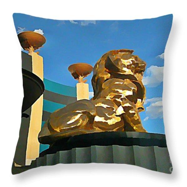 Mgm Lion In Las Vegas Throw Pillow by John Malone