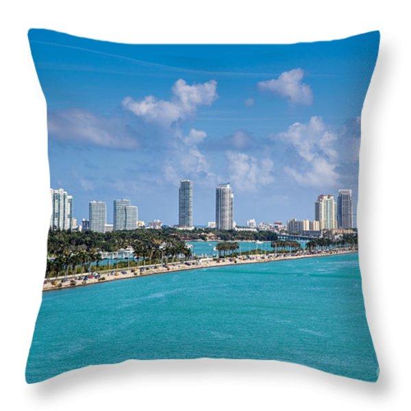 Miami Beach Skyline Throw Pillow by Rene Triay Photography