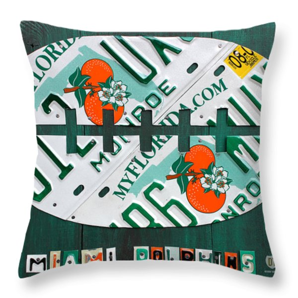 Miami Dolphins Football Recycled License Plate Art Throw Pillow by Design Turnpike