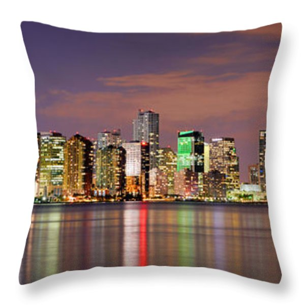 Miami Skyline At Dusk Sunset Panorama Throw Pillow by Jon Holiday
