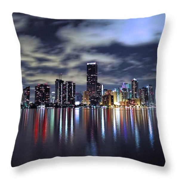 Miami Skyline Throw Pillow by Gary Dean Mercer Clark