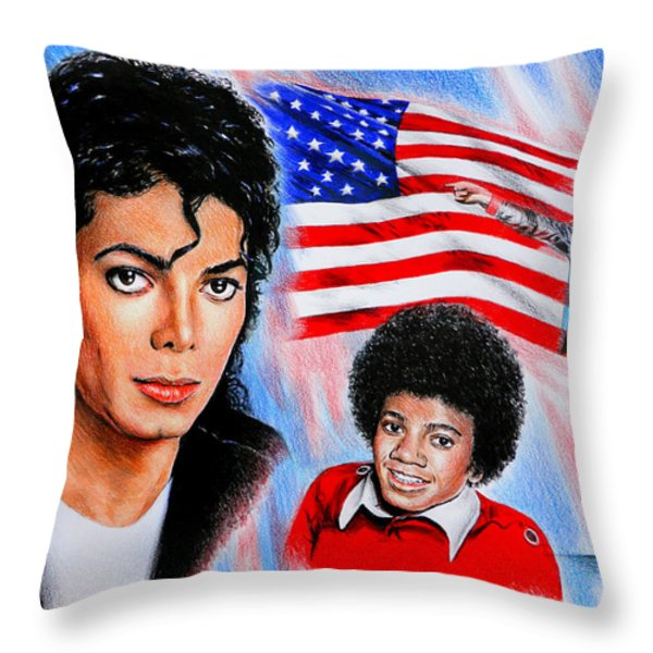 Michael Jackson American Legend Throw Pillow by Andrew Read